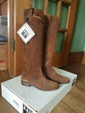Women's NEW In Box FRYE Cara Roper tall brown leather suede riding boots size 8