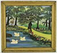 American Folk Art Painting Swans In Lake Landscape Signed Blair 1930s