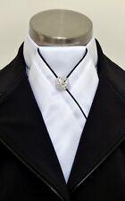 Era Alexis White Satin Stock Tie - Black Piping, Elegant Pleat + Silver Pin