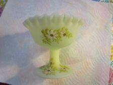 Lovely~Fenton Floral Hand-Painted Custard Glass Compote Bowl~[ Signed S.MEUNIER]