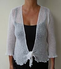 1A104 LADIES SHRUG BOLERO CARDIGAN 3/4 SLEEVE size 8 10 12 14 16 WHITE FREE POST