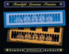Halloween Stencil~Vintage~PUMPKIN FENCE BORDER~Magical Picket Fence Pumpkins