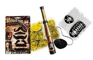 Piraten Augenklappe Fernrohr Bärte Goldmünzen Karneval Fasching Kindergeburtstag