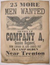 Civil War Recruiting Poster, Company A Camden Regiment New Jersey Union, wanted