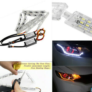 Telescopic Switchback LED DRL Strip Sequential Light Sequential Signal Headlight