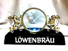 Lowenbrau beer sign lighted clock back bar display floating lion 1982 Miller Hp5