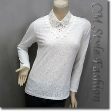 Dual Layered Beaded Sequined Collar Lace Blouse Top White M