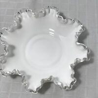 Fenton Silvercrest Ruffled Wavy Edge Milk Glass Dish Bowl Vintage