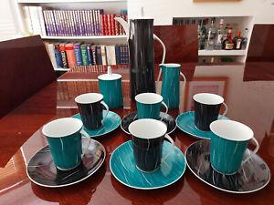 Rare Cmielow Krokus porcelain Black Turquoise Coffee set for 6 Potacki Poland 62