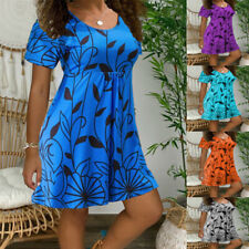 Women Floral A Line Mini Dress Short Sleeve Casual Crew Neck Sundress Plus Size