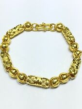 24k Yellow Gold Diamond Cut Hollow Chain Bracelet 7.5 Inches 17.59g