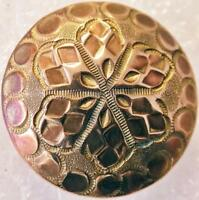 Antique Brass Button Faceted Snowflake Pattern Extra Treble Backmark 1""