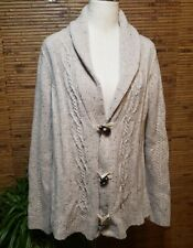 Coldwater Creek Cardigan Sweater XL Wool Blend Beige Fisherman Cable Knit