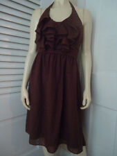 Max and Cleo Dress 12 Halter Brown Textured Polyester Pleat Ruffle Lined