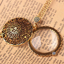 1pc Vintage Gold 5X Magnifying Glass Reading Flower Pendant Magnifier Necklace