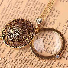 De oro de la moda retro flor lupa lupa de lectura 5X Colgante Collar