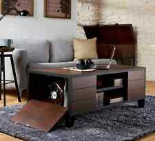 Industrial Coffee Table Storage Rustic Vintage Style Fold Out Door Walnut Finish
