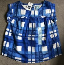 GAP BLUE CHECKED DRESS WITH SLEEVELESS ARMS & PLEATED FRONT- AGE18-24m BNWT