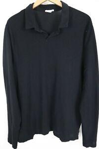 JAMES PERSE Standard Mens sz 4 Black V Neck Long Sleeve Polo Shirt Cotton