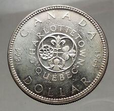 1964 CANADA Quebec Charlottetown Commemorative BIG SILVER Dollar Coin i57136
