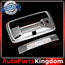 14-16 GMC Sierra 1500 Triple Chrome Tailgate Handle+Keyhole+Camera hole Cover