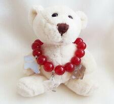 Red Jade Stretch Bracelet Bear Star Charms
