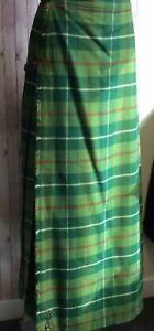 Vintage Full Length KILT Green Red White Tartan 34 Waist Scotch House IL