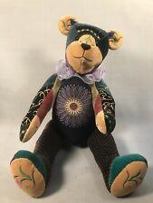 Pv04965 Vintage Handcrafted Artist Bear Pat Fairbanks- Patchwork Emma
