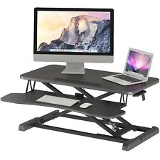 More details for sit- stand desk converter height adjustable dual tiered computer workstation