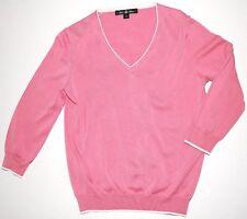 BROOKS BROTHERS Silk / Cotton Blend V-Neck Sweater S Pink White Lightweight