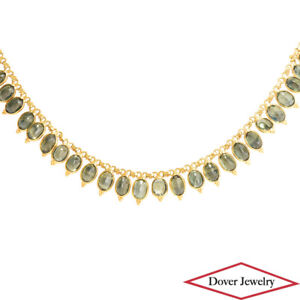 Estate 53.00ct Green Sapphire 18K Yellow Gold Link Necklace 21.2 Grams