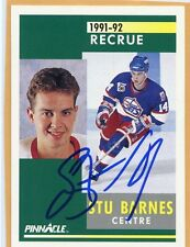 STU BARNES JETS AUTOGRAPH AUTO 91-92 PINNACLE FRENCH ROOKIE RC #319 *35996