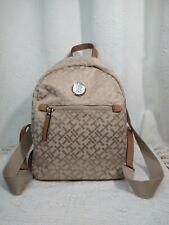 Tommy Hilfiger Khaki Beige Signature Th Logo Backpack 69j2055 250 Shoulder Bag