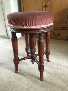 Victorian round swivel mahogany piano stool