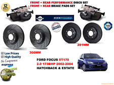 FOR FORD FOCUS ST170 02-04 FRONT REAR PERFORMANCE DRILLED BRAKE DISCS + PADS KIT