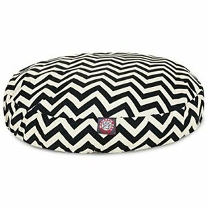 Black Chevron Medium Round Indoor Outdoor Pet Dog Bed With Removable Washable...