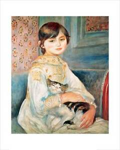 Renoir - Julie Manet with Cat - fine art giclee print poster - various sizes