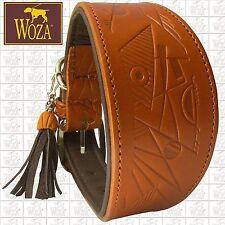 WOZA Premium Greyhound Collar Handmade Full Leather Padded Soft Genuine  P6810
