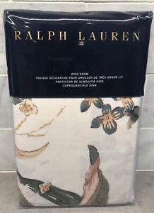 NEW Ralph Lauren King Botanical Floral Sham Olivia Josefina 100% Cotton Cream
