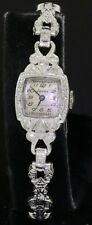 Alpha Platinum/14K white gold elegant .34CT VS/G diamond mechanical ladies watch