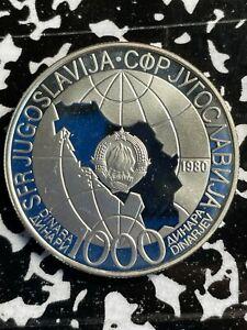 1980 Yugoslavia 1000 Dinara Lot#X4512 Large Sliver Coin! Proof