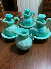 Vintage Avon Jadeite Moonwind Milk Glass 3 Mini Bowl and 4 Pitcher 3 Stoppers