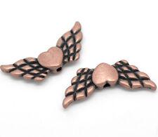 Lot 10 perle intercalaire Aile d'ange avec coeur Cuivré 22mm x 9mm
