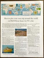 1961 P&O Orient Lines PRINT AD How to Plan Your Own Trip Around the World