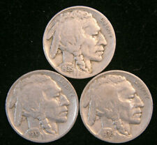 Lot of 3 Buffalo / Indian Head Nickel Coins with Full Dates, Us Coins!