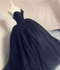 Black Prom Dresses Ball Gown Sweetheart Bling Beaded Puffy Princess Evening Gown