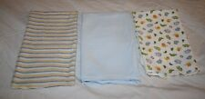 3 Cotton Flannel Baby BOYS RECEIVING Blankets Stripes ZOO Animals Security Soft
