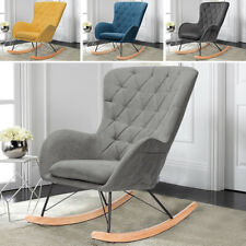 Rocking Chair Wing Back Rocker Armchair Relaxing Leisure Time Seat Curved Legs