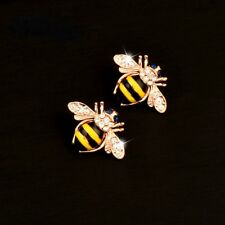 Black Striped Bee Stud Earrings Betsey Johnson Rose Gold Plated Yellow