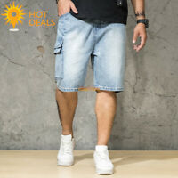 New Summer Men's Cargo Denim Shorts Distressed Loose Retro Short Jeans Plus Size